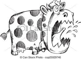 eps vector of mad crazy cow sketch vector illustration art