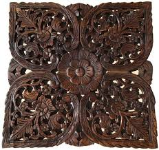 asian home decor large square floral wood wall hanging rustic wood