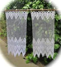 Lace Cafe Curtains Kitchen by Crochet Curtain French Filet Crochet Lace Panel Antique Crochet
