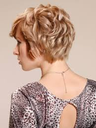 all tressed up wavy short blonde cut back view with layers hair