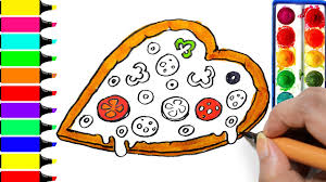 heart pizza coloring page drawing fast food learn colors for