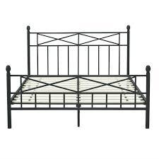 queen size matte black metal platform bed frame with headboard