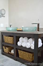 Bathroom Vanity Woodworking Plans Build An Open Shelf Bathroom Vanity Hometalk