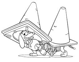 slinky dog playing road cones toy story colouring