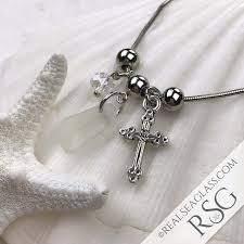 silver bracelet with cross charm images Clear sea glass adjustable three charm bracelet with cross charm jpg