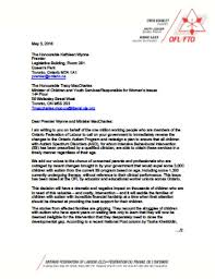 ofl letter to premier wynne and minister maccharles re ontario
