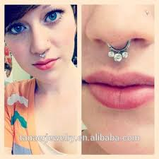 pink nose rings images Sexy new unique non piercing fake septum ring silver titanium jpg