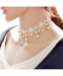 white lace choker necklace images White lace choker necklace elegant necklace pearl pendant choker jpg