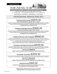 funeral homes prices professional service fees march 2017 page1 jpg