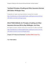 test bank principles of auditing and other assurance services 20th