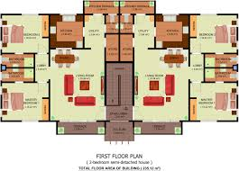 5 Bedroom Apartment Floor Plans by Architectural Plan Of Two Bedroom Flat With Design Image 3403