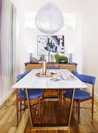 Skinny Dining Table by Emily Henderson Home Makeover Good Housekeeping Marble