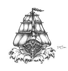 ghost pirate ship tattoo drawing