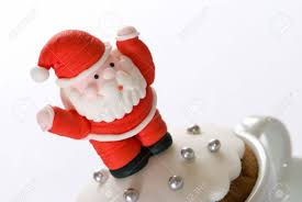 christmas cake with santa icing decoration stock photo picture