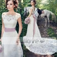 brautkleid china wholesale noble graceful lace wedding dress 2017 pink bow sashes