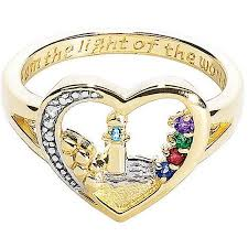 birthstone ring personalized 18k gold sterling lighthouse birthstone ring