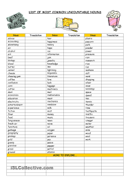 Proper Noun Worksheets For First Grade List Of Most Common Uncountable Nouns Education Pinterest