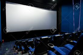 home movie theater screen dark movie theatre interior screen and chairs stock photo