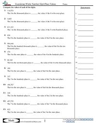 fourth grade place value worksheets worksheets