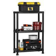 Heavy Duty Garage Shelving by Vonhaus 3 Tier Garage Shelving Unit Heavy Duty Black Plastic