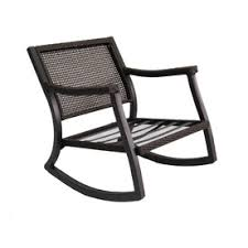 Patio Rocking Chair Allen Roth Netley Brown Steel Slat Seat Patio Rocking Chair