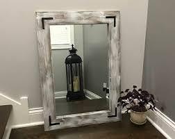 reclamed wood frame mirror rustic wood mirror bathroom