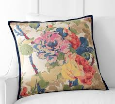 Pottery Barn Buchanan Sofa by Charlotte Floral Pillow Cover Pottery Barn