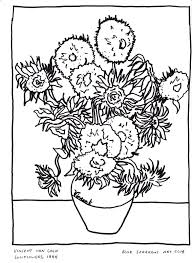 van gogh sunflowers coloring page pictures 6912