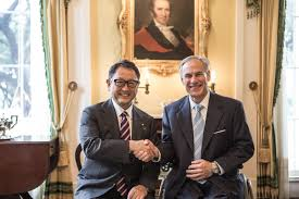 motor corporation governor abbott meets with president of toyota motor corporation