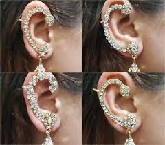 cuff earings indian jewellery ear cuff earrings gold diamante dangle