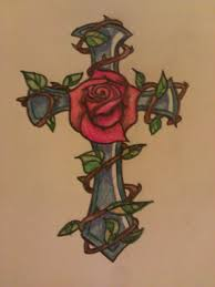 christian cross and rose tattoo by rockabillychicadee on deviantart