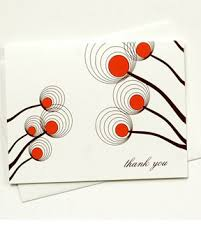 out of gray binth modern floral design thank you card