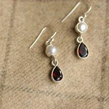 alternative earrings garnet and pearl silver earrings garnet drop earrings