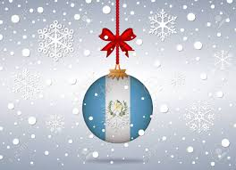 Guatemala Flag Christmas Background With Guatemala Flag Ball Royalty Free