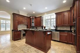 Cherry Cabinet Kitchen Cherry Kitchen Cabinets With Gray Wall And Quartz Countertops