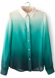 green chiffon blouse green gradients lapel sleeve chiffon blouse abaday com
