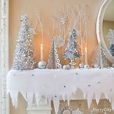 snow decoration trees and icicles mantel decorating idea party city party city
