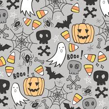 doodle with doodle with skulls bat pumpkin spider web ghost on light