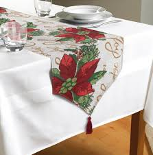 embroidered christmas table runner red poinsettia design