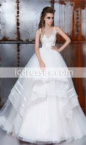 spaghetti straps lace up back ball gown wedding dress applique