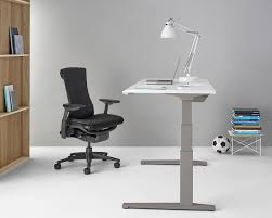 Herman Miller Adjustable Height Desk by Executive Desk Wood Veneer Metal Laminate Renew Sit To
