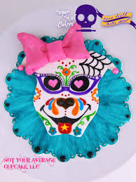 sugar skull cake topper 1950 s pitbull girl painted cake topper sugar skull bakers