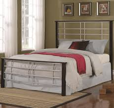 iron beds and headboards queen two tone metal bed with high