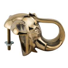 White Elephant Head Wall Mount Elephant Head Bar Rail Bracket Polished Brass 2