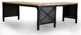 Desk L Shaped Crafted Modern L Shaped Ash Top And Steel Desk Wood Top