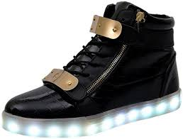 size 5 light up shoes led shoes bling high tops with gold zip and bar detail the led