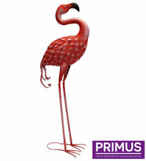 large pink metal flamingo garden ornament metal animal
