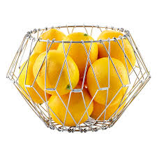 modern fruit holder folding wire storage basket the container store