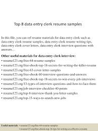 Sample Resume Of Data Entry Clerk by Top8dataentryclerkresumesamples 150424221338 Conversion Gate01 Thumbnail 4 Jpg Cb U003d1429931666