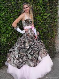 cute pink camo wedding dress sweetheart drapped ball gown vintage